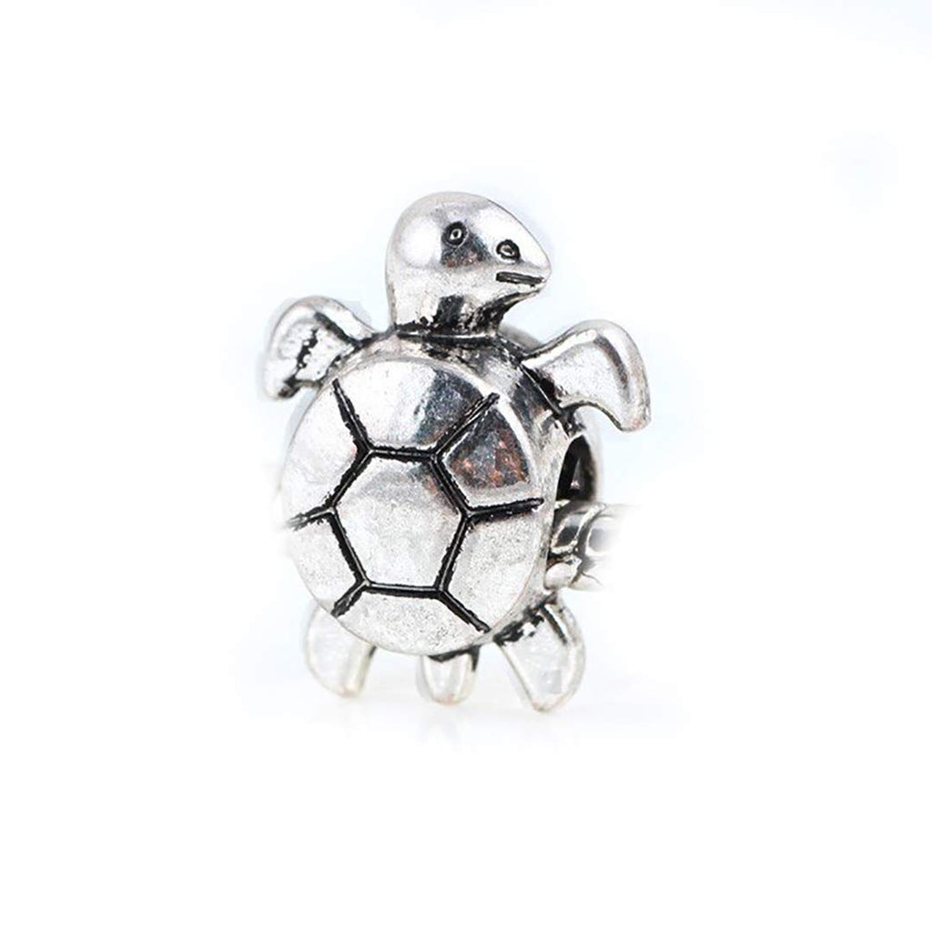 Turtle Charm Beads Tibetan Antique Silver Tone in Organza Bag Big Hole European Charms