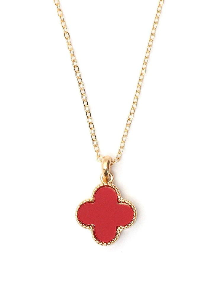 Red Clover Pendant Necklace in Organza Gift Bag