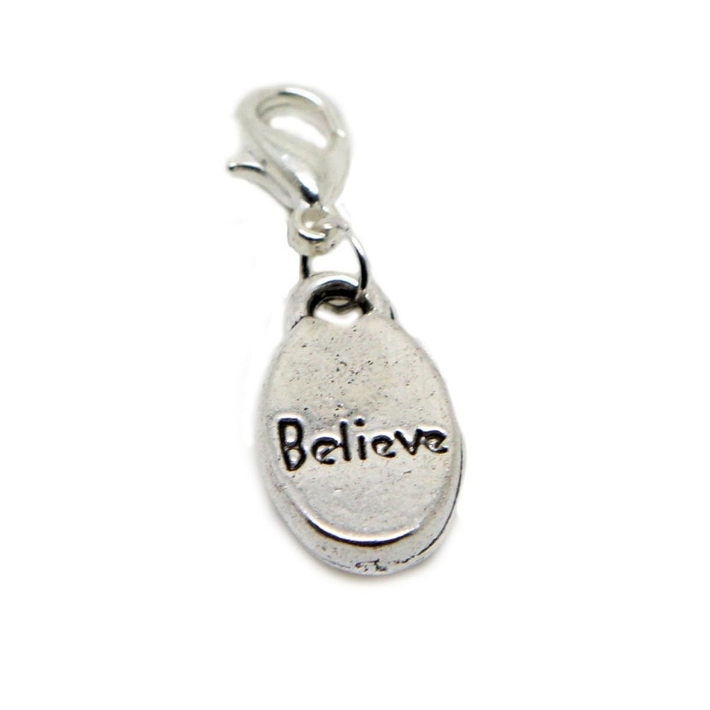 Believe Gift Dangle Bead for Silver European Charm Bracelets Clip on Charm chain link bracelet - Pendants and Charms