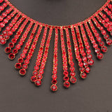 art deco red gold tone necklace drop earrings set crystal rhinestone - Pendants and Charms