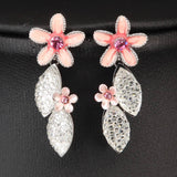 PINK  SILVER PLATED FLOWER NECKLACE SET  450206 - Pendants and Charms