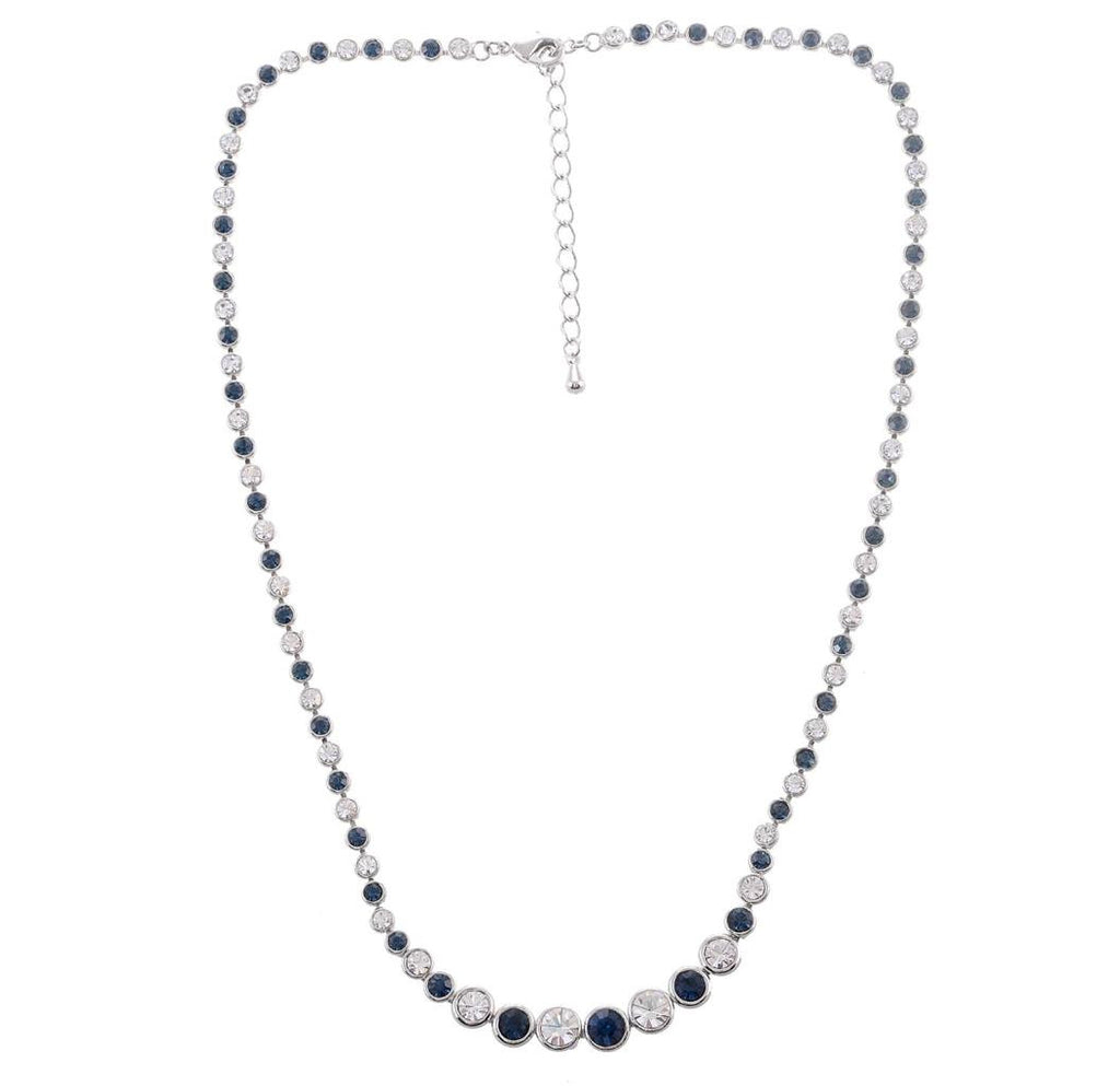 BLUE AND CLEAR CRYSTAL NECKLACE 229A - Pendants and Charms