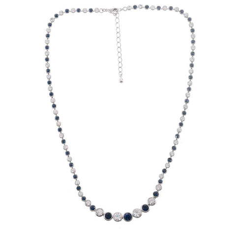 BLUE AND CLEAR CRYSTAL SHORT NECKLACE - Pendants and Charms
