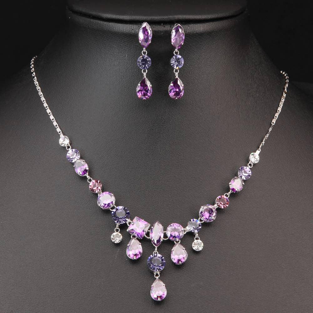 PURPLE  SILVER PLATED GEOMETRIC NECKLACE EARRINGS SET 450108 - Pendants and Charms