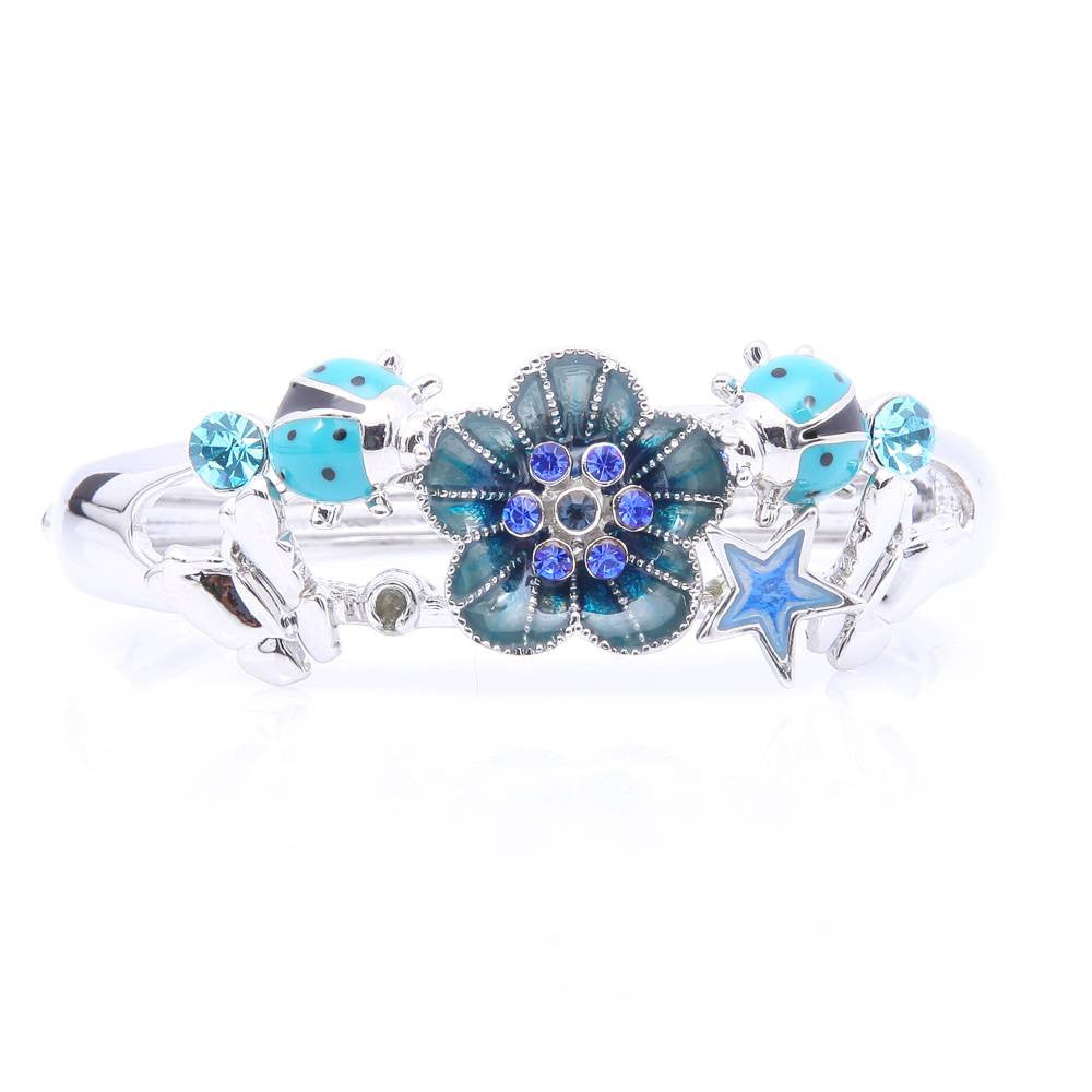 SILVER PLATED  BLUE FLOWER & LADYBIRD BANGLE - Pendants and Charms