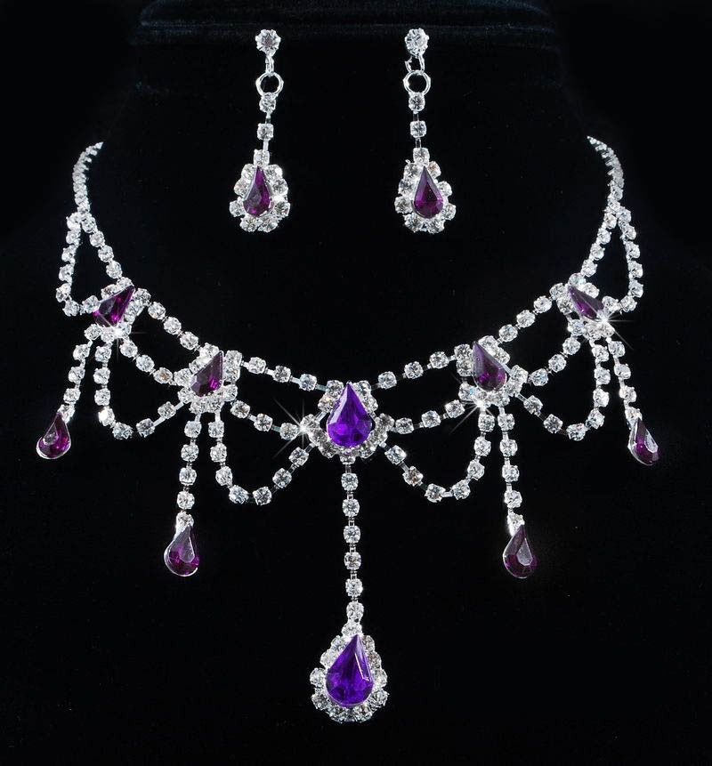 Prom Collection clear crystal purple necklace wedding set - Pendants and Charms