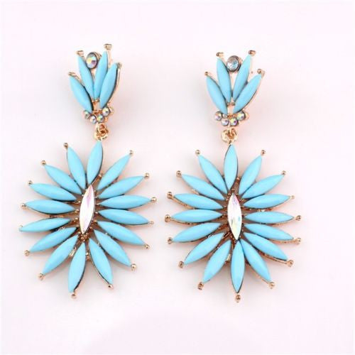 Bohemian Fashion Golden Light  Blue Resin Crystal Flower Dangle Long Earrings Shourouk Earrings - Pendants and Charms
