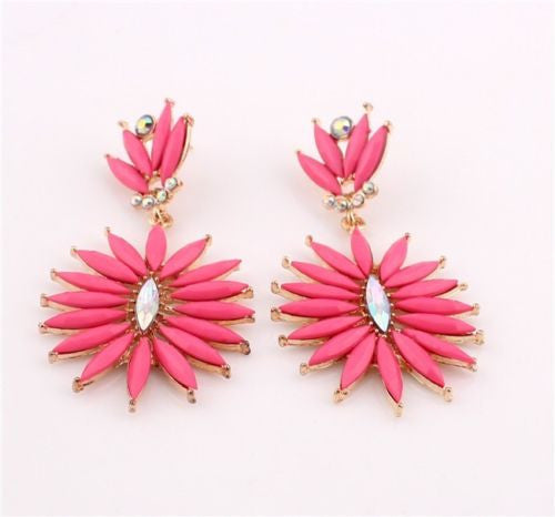 Bohemian Fashion Golden Pink Resin Crystal Flower Dangle Long Earrings Shourouk Earrings - Pendants and Charms