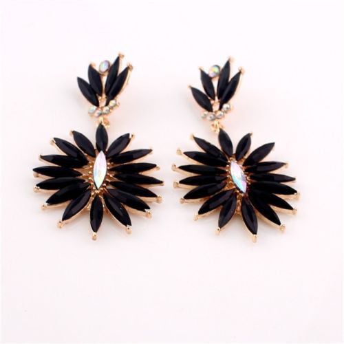 Bohemian Golden Black Resin Crystal Flower Dangle Long Earrings Shourouk Earrings - Pendants and Charms