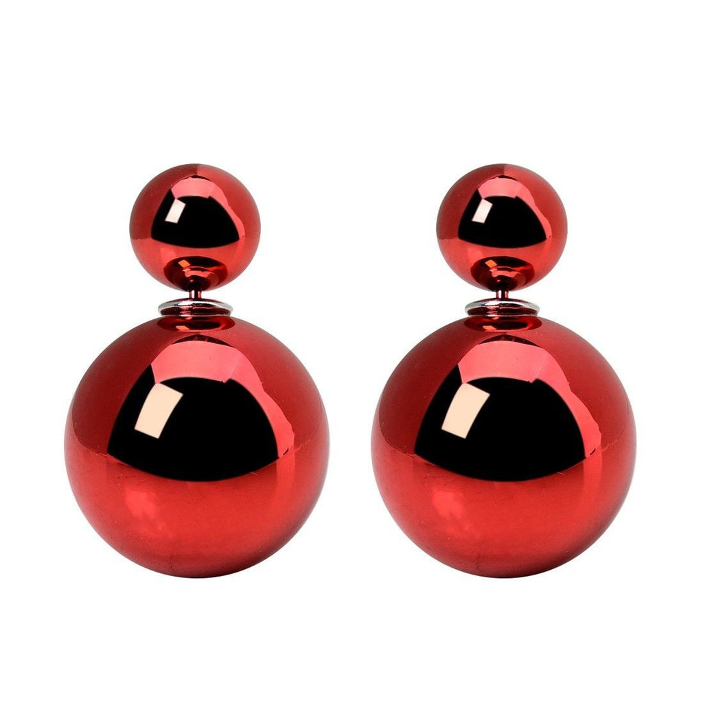 Celebrity Runway Double Pearl Beads Double Side Pearl Beads Stud Earrings red metallic - Pendants and Charms