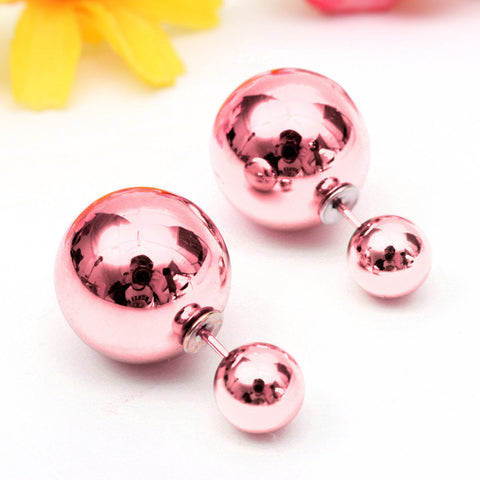 Celebrity Runway Double Pearl Beads Double Side Pearl Beads Stud Earrings metallic - Pendants and Charms