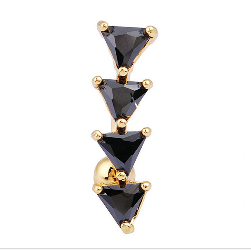 316L Surgical Steel Black Triangles Dangle Body Piercing  Navel Belly Ring Piercing - Pendants and Charms