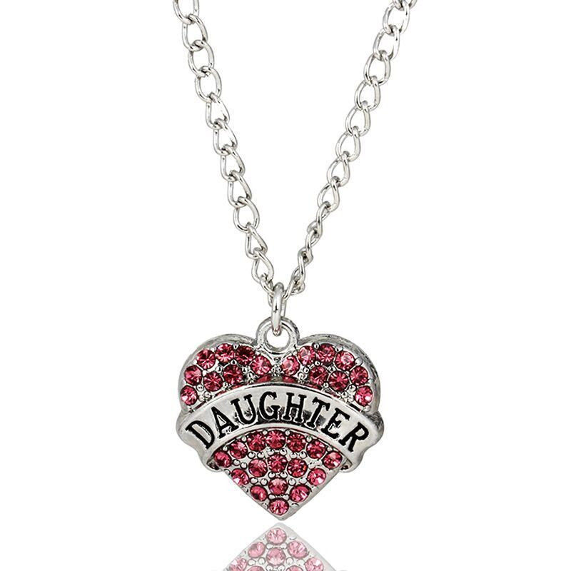 Daughter Pink Rhinestone Heart Necklace - Pendants and Charms