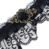 Retro Gothic Lace Collar Exaggerating Necklace Black Flower Women Jewelry - Pendants and Charms