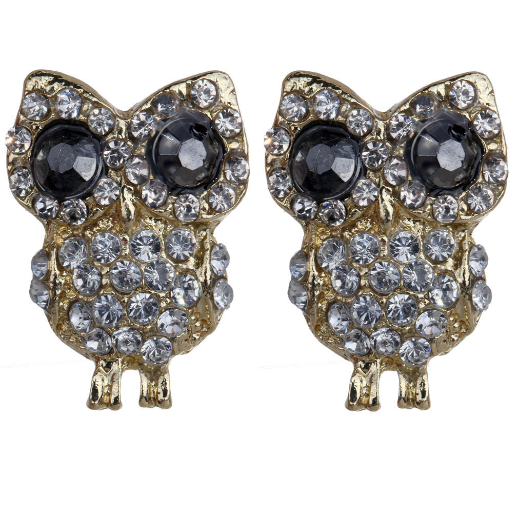 Owl Crystal Rhinestones  Stud Fashion Earrings - Pendants and Charms