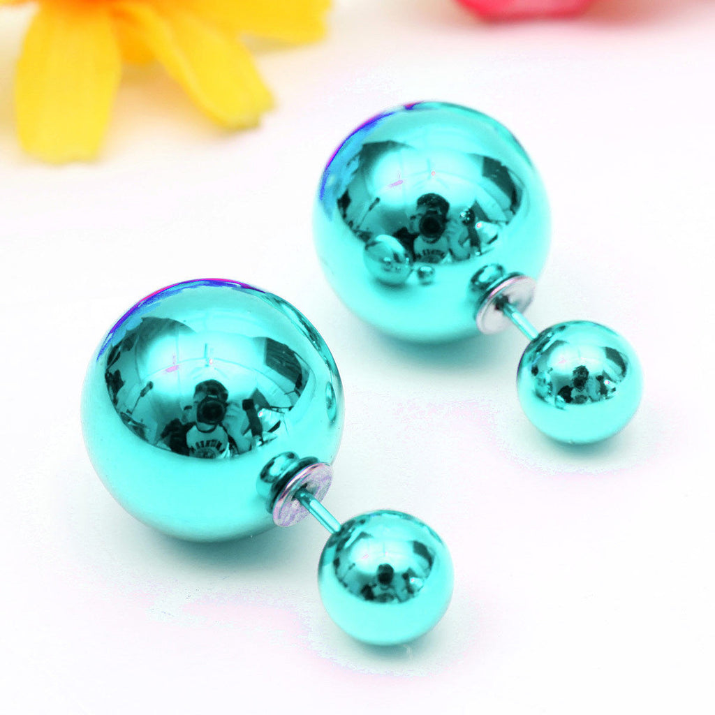 Celebrity Runway Double Pearl Beads Plug Earrings Ear Studs blue metallic - Pendants and Charms