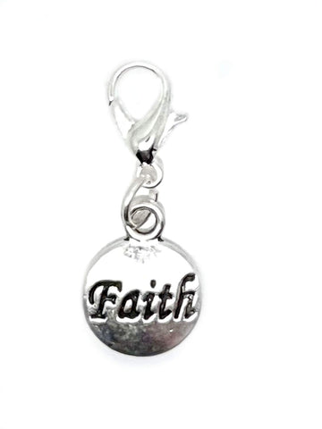 Faith Gift Dangle Bead for Silver European Charm Bracelets Clip On Charm Chain Link Bracelet Meaning Charms (Silver Clip On)