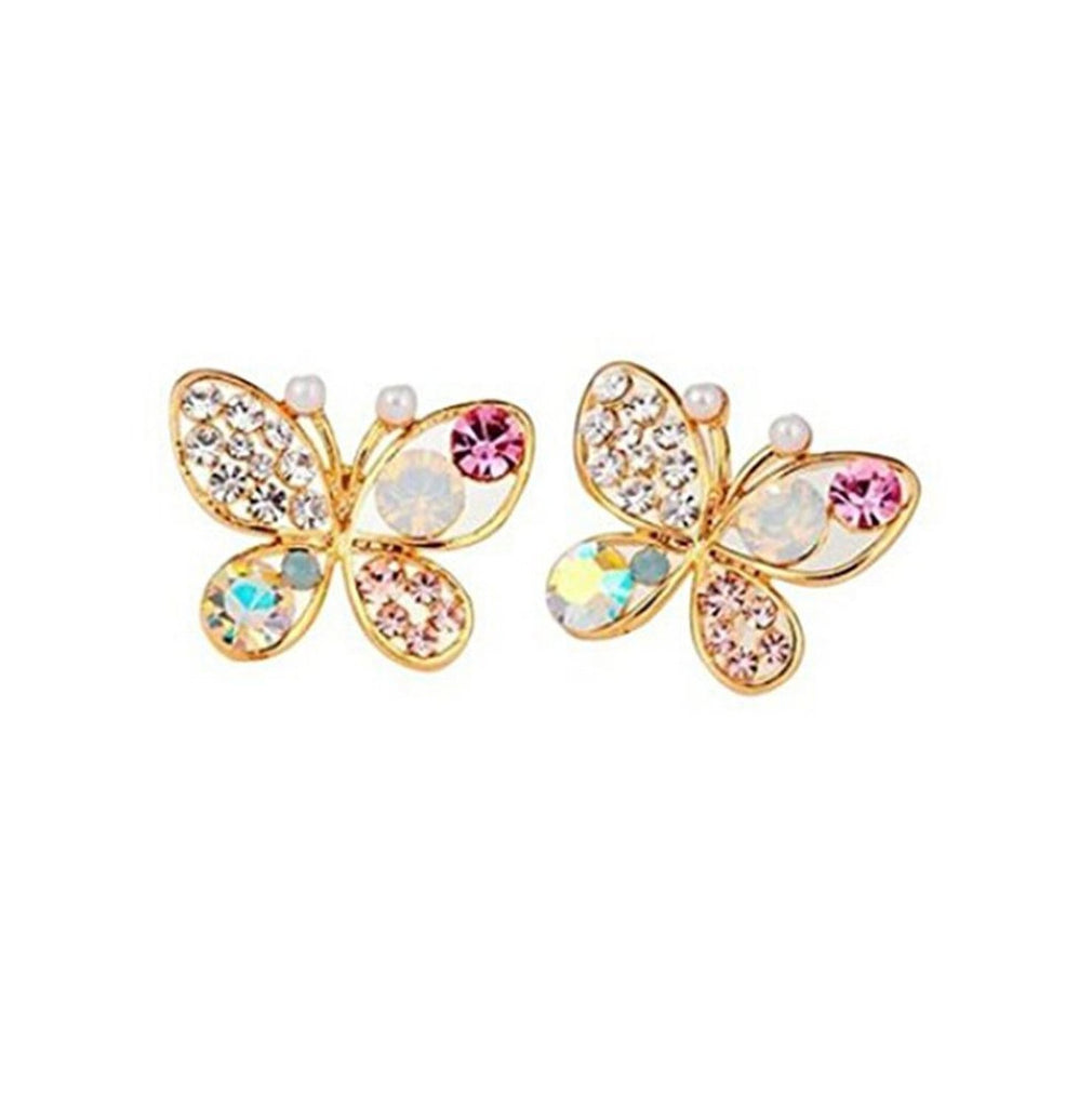 TR.OD Hollow Out Colorful Shining Bling Crystal Rhinestone Cute Lovely Butterfly Ear Stud Pin Earrings