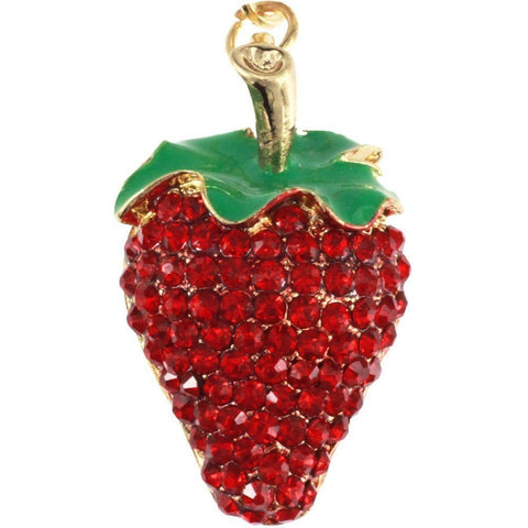 Rhinestones Red Fruits Cherry Strawberry Key Ring Key Chain Charm Pendant Accessory