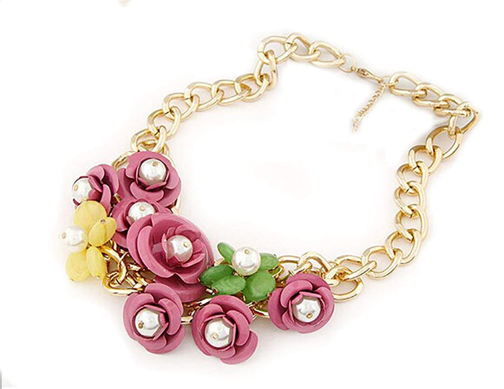 Charm Flower Chain CChoker Chunky Statement Bib Necklace Multi Colour Pink Blue Green