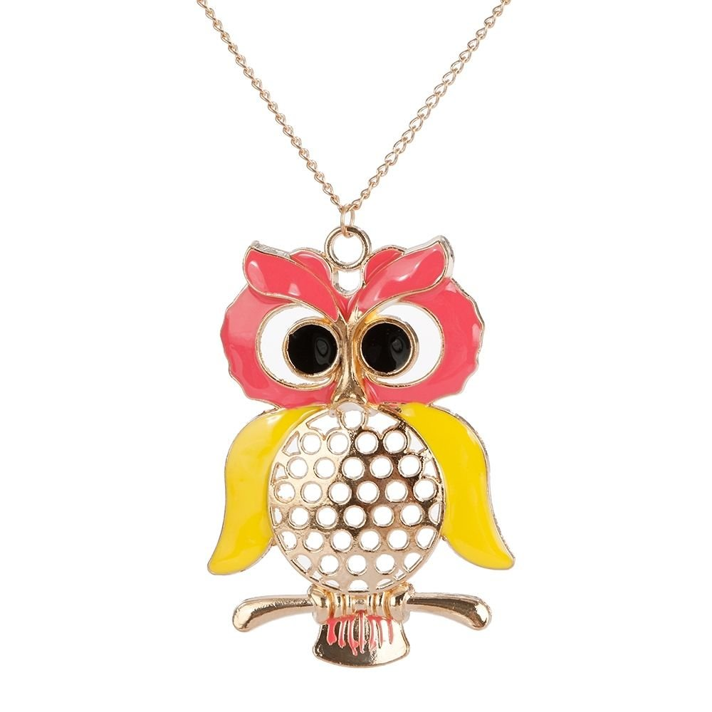Oversized Owl Gold Plated Pendant Chain Necklace in Organza Gift Bag