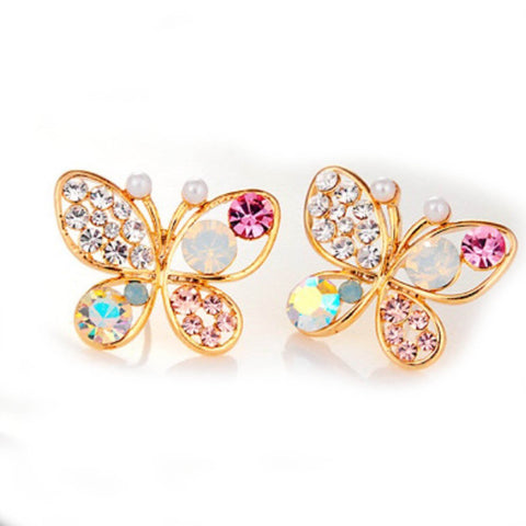 Women's Rhinestone Gold Plated Butterfly Stud Earrings Jewellery