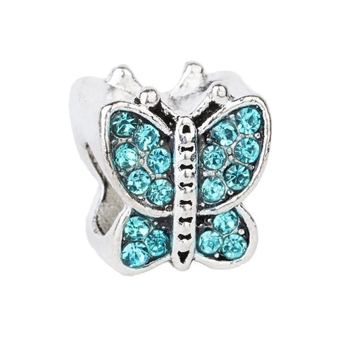 Butterfly Blue Pink Red Yellow BFF Friend Silver Plated Charm for Charm Bracelets Womens Girls Jewellery Big Hole Charm (Silver) - Pendants and Charms