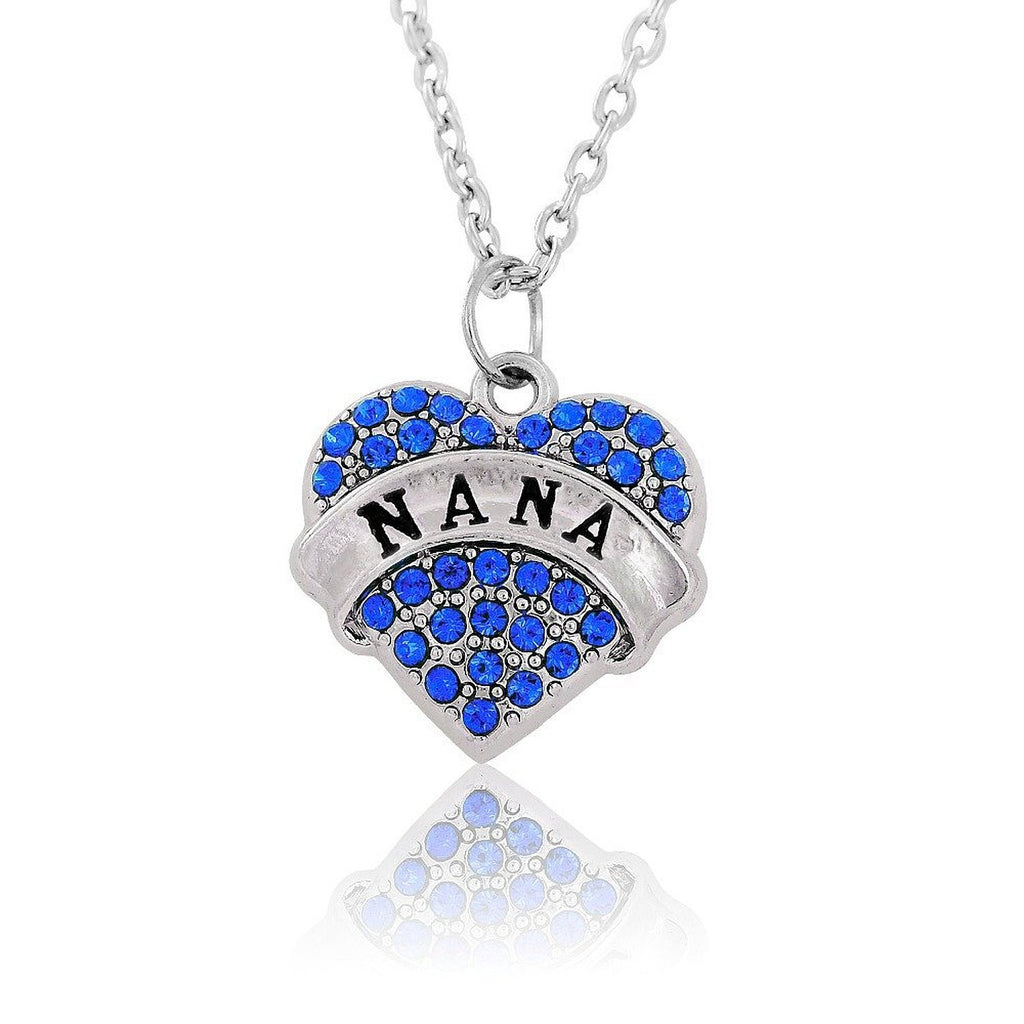 NANA Crystal Alloy Heart Charm Pendant Necklace Gifts blue Women - Pendants and Charms
