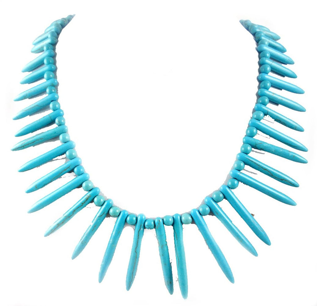 Turquoise gems beads spiky necklace choker - Pendants and Charms