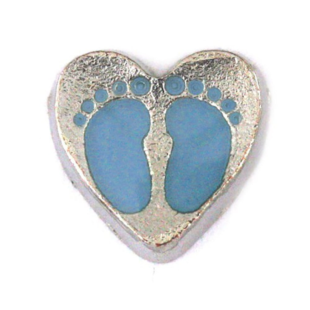Pink Blue baby feet new baby heart Floating charms with Free 5 random birthstones 8mm - Pendants and Charms