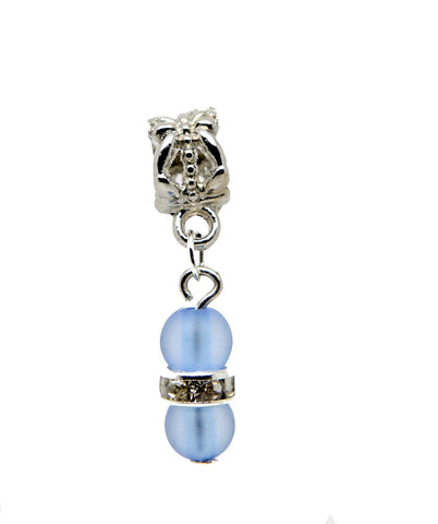 Blue Frosted Beads Sparkly Rhinestone Spacer Silver Tone Dangle Bead for European Charm Bracelets Dangle Charm Chain