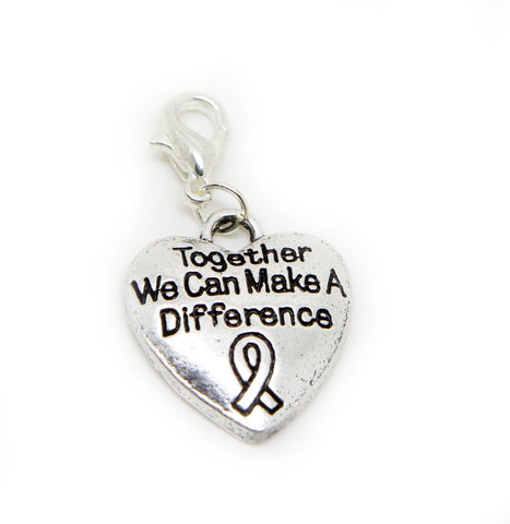 Together we Can Make a Difference Awareness Message word charm pendants (silver clip on) - Pendants and Charms