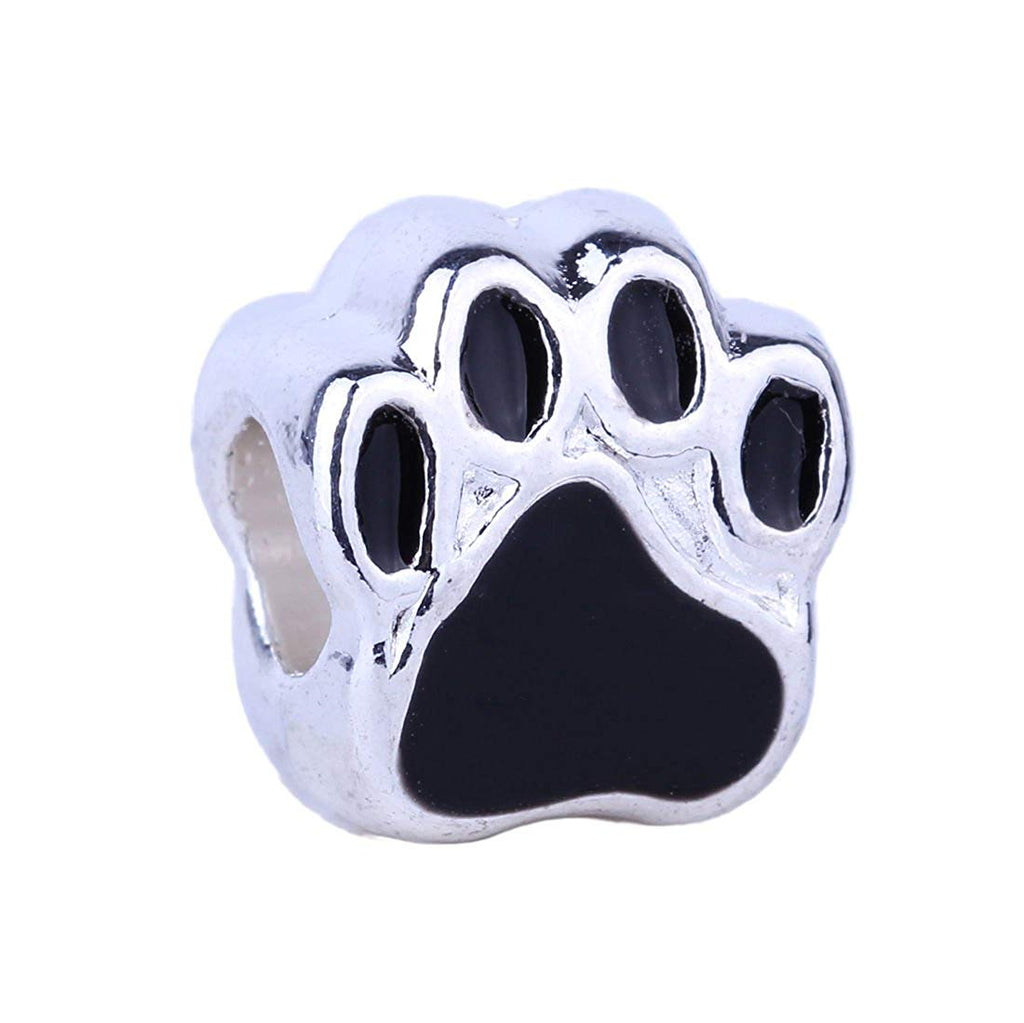Paw Print BFF Friend Silver Plated Charm Bead