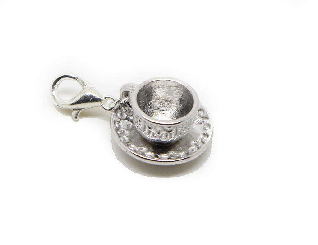 jewelleryjoy Saucer and Cup Clip On Charms Pendant In Organza Gift Bag (silver Clip On)