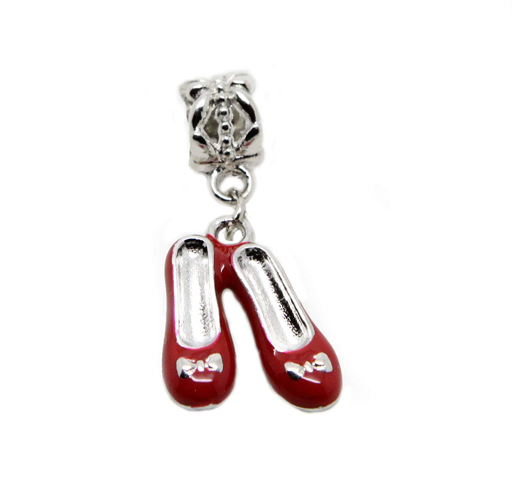 Red Ballet Shoes Charm Pendant Bead in Organza Gift Bag