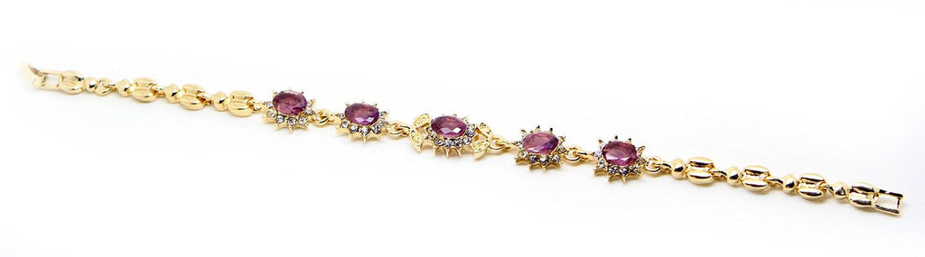 Floral Collection gold tone tone red crystals bangle bracelet - Pendants and Charms