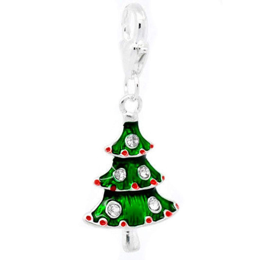 Christmas Tree Clip On Charm Bead Will Fit Link Style Bracelets - Pendants and Charms