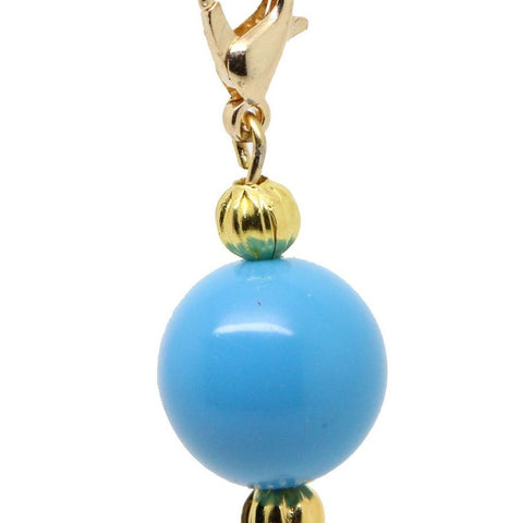 Blue Acrylic bead Charms gold tone clip on fits floating locket chains and Charms Bracelet - Pendants and Charms