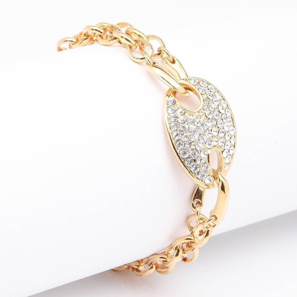 Rhinestone yellow gold plated double chain bangle bracelet bridal bracelet - Pendants and Charms
