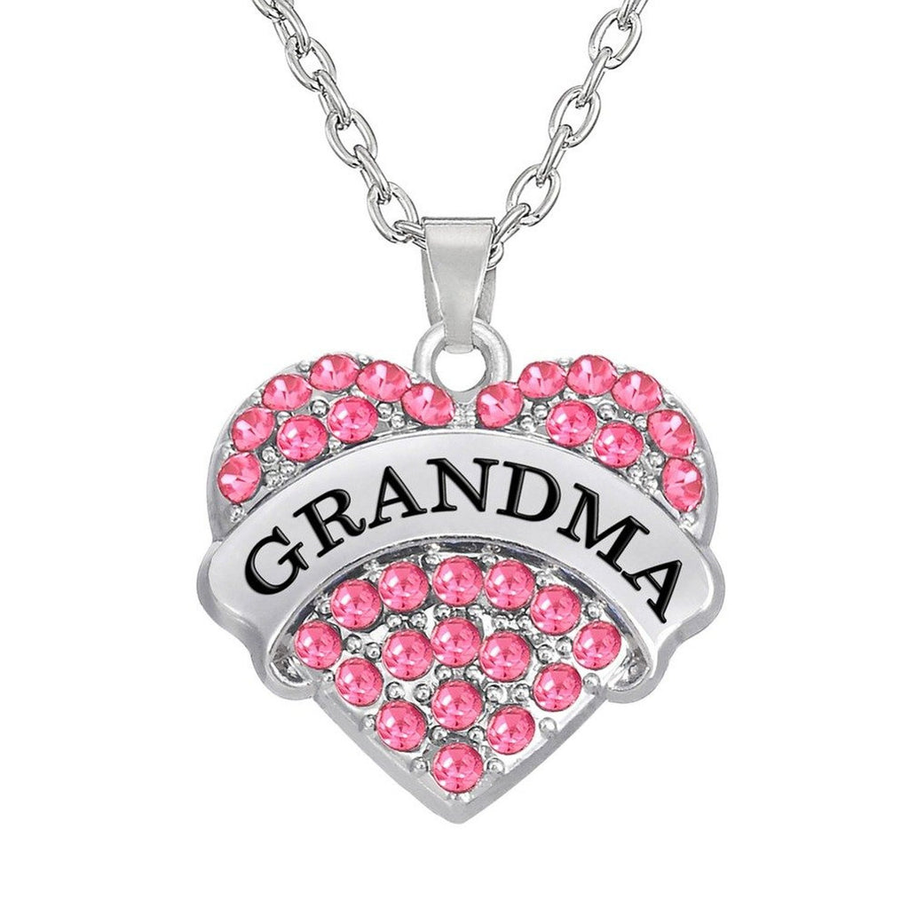 NANA Crystal Alloy Heart Charm Rhinestone Pendant Necklace Gifts Women Family gift (Pink) - Pendants and Charms