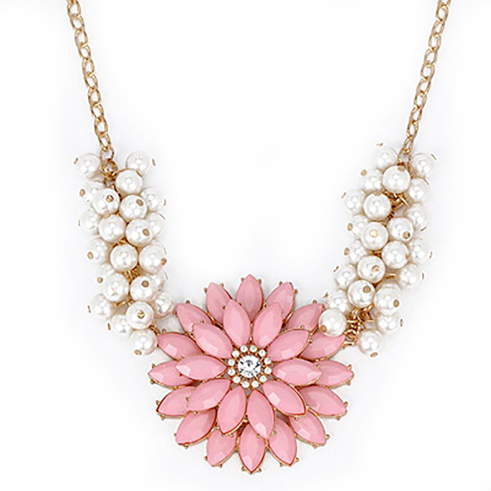 Acrylic Pearl Flower Chain Choker Chunky Statement Bib Collar Necklace Pink - Pendants and Charms