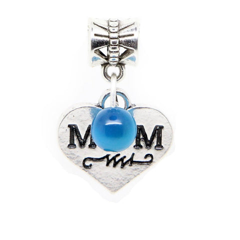 Mum Mother silver tone heart blue gemstone beads  charm pendant  bead - Pendants and Charms