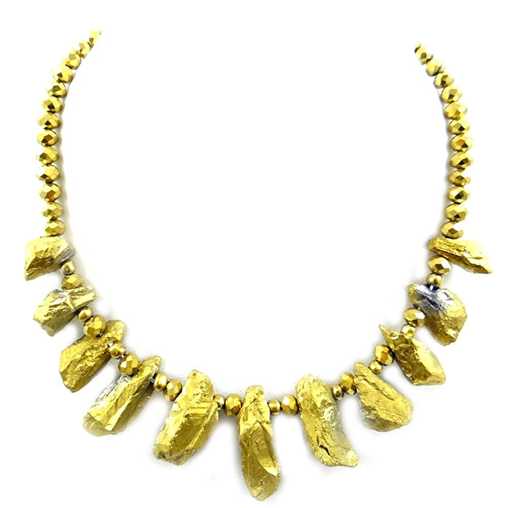 jewelleryjoy Gemstone Necklace sparle Gold Beads Necklace Handmade Necklace 18 inch