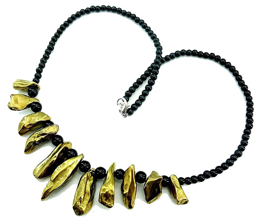 jewelleryjoy Gemstone Necklace sparle Gold Drusy Black Beads Necklace Handmade Necklace 18 inch