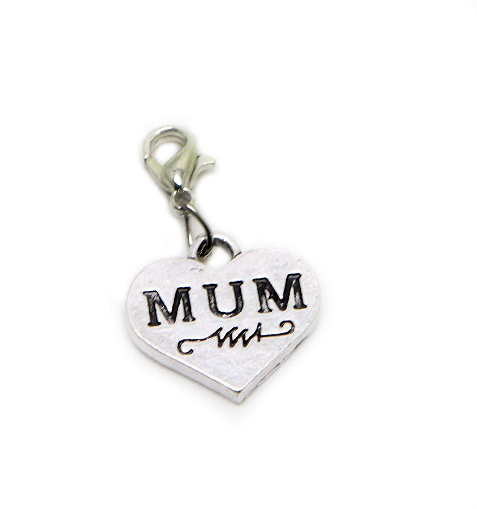 jewelleryjoy Mum Mother Gift Dangle Bead for Silver European Charm Bracelets Clip On Charm Chain Link Bracelet (Silver Clip On)