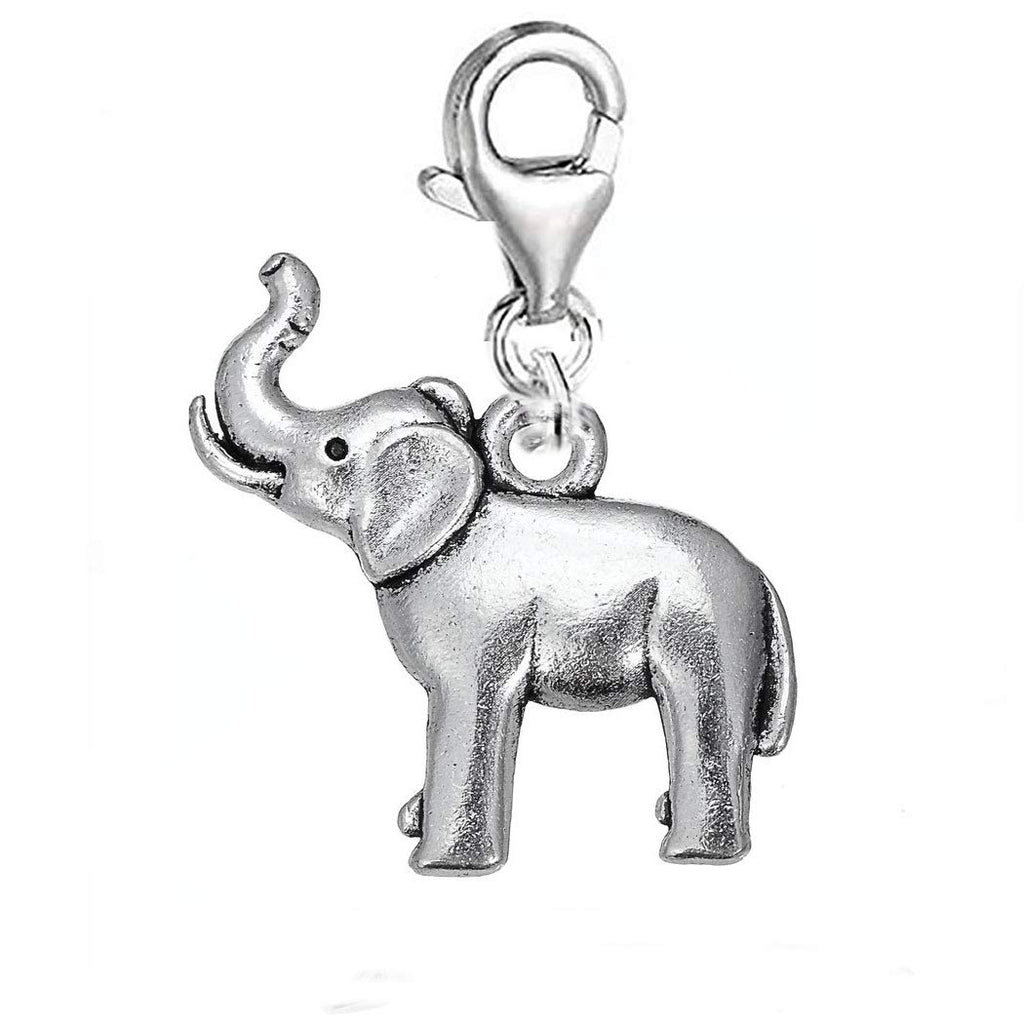 Clip On Elephant Animal European Bracelet Lobster Clasp Charm Pendants in Organza Gift Bag