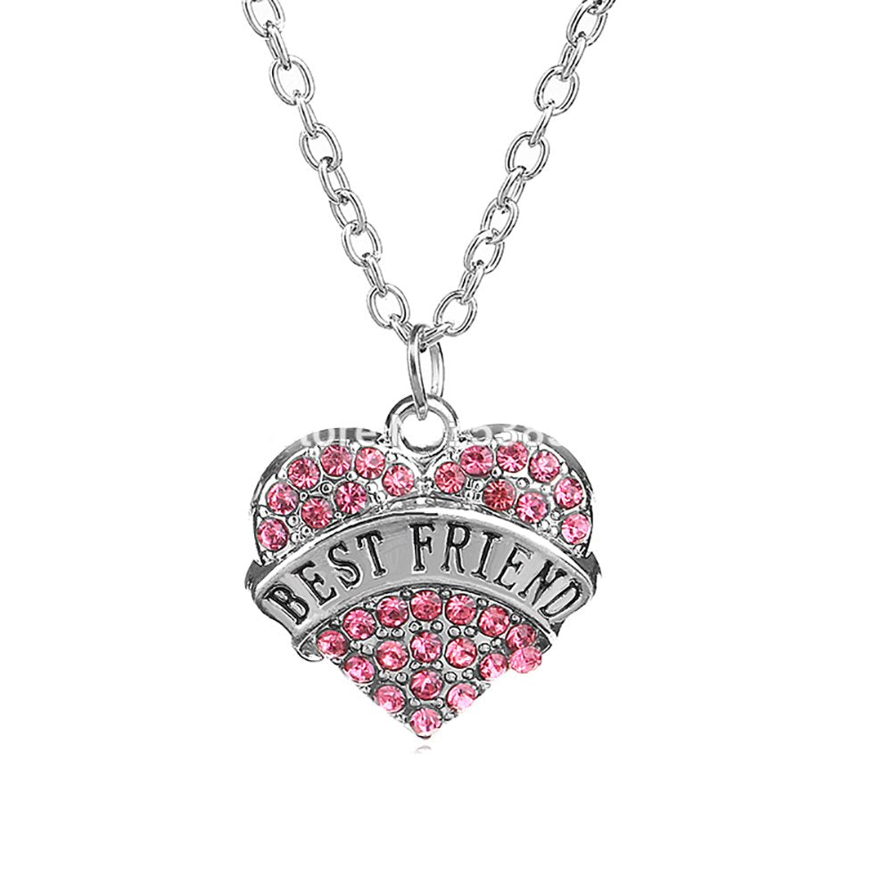 Best Friend Pink Crystal Pendant Necklace