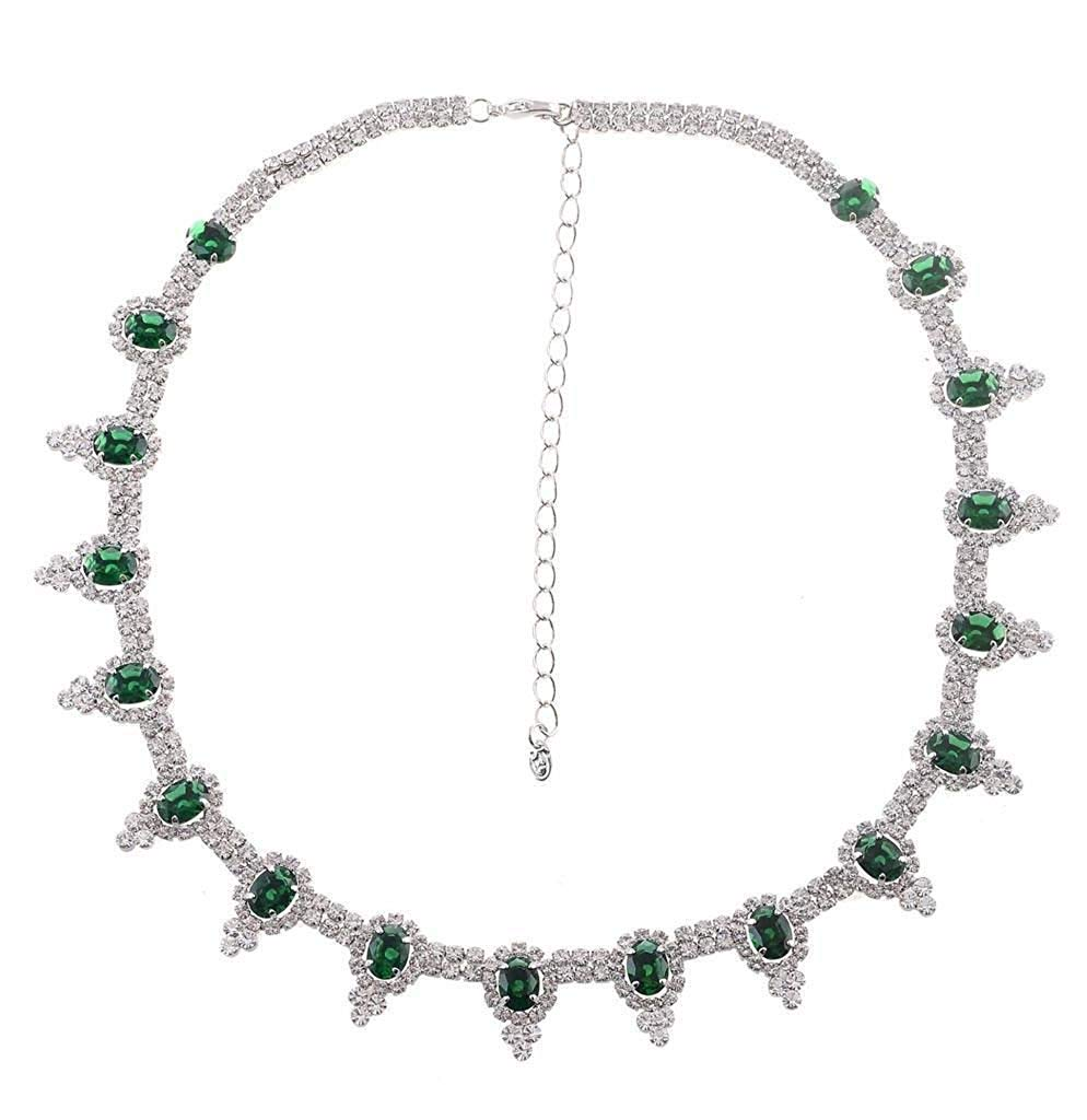 jewelleryjoy Green and Clear Rhinestone Crystal Necklace Choker