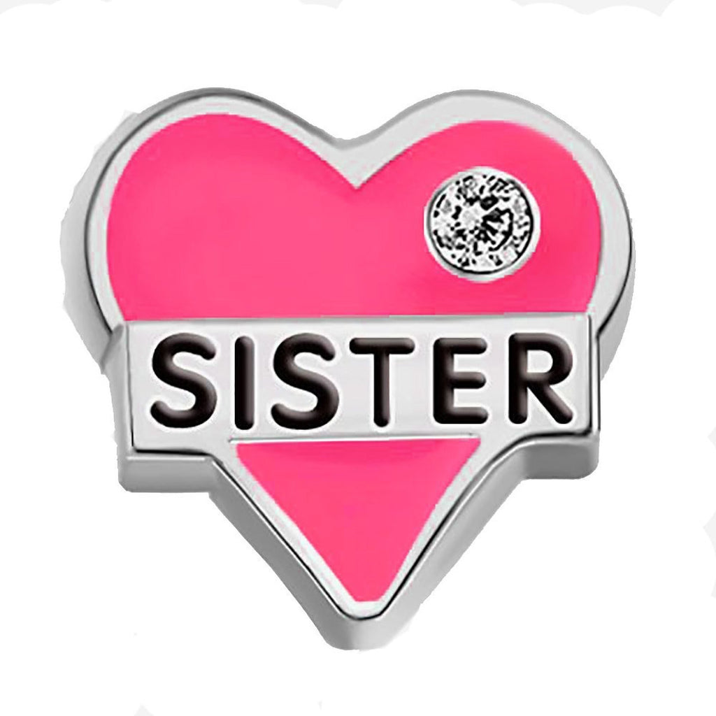 Sister pink heart and rhinestone and free 5 random birthstones  Floating lockets - Pendants and Charms