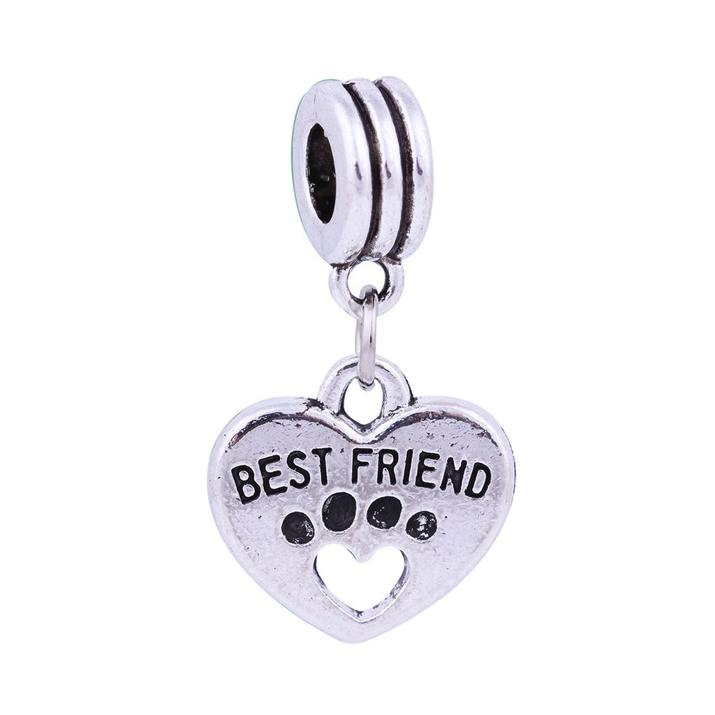 Dangle Best Friend Paw Hollow Heart Charms Beads Fits High Street Brands in Organza Gift Bag